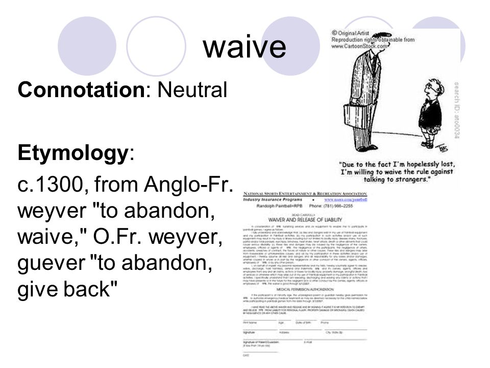 waive Connotation: Neutral Etymology: