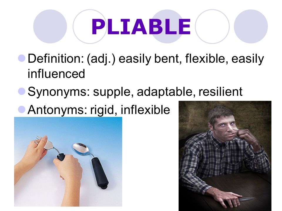 PLIABLE Definition: (adj.) easily bent, flexible, easily influenced
