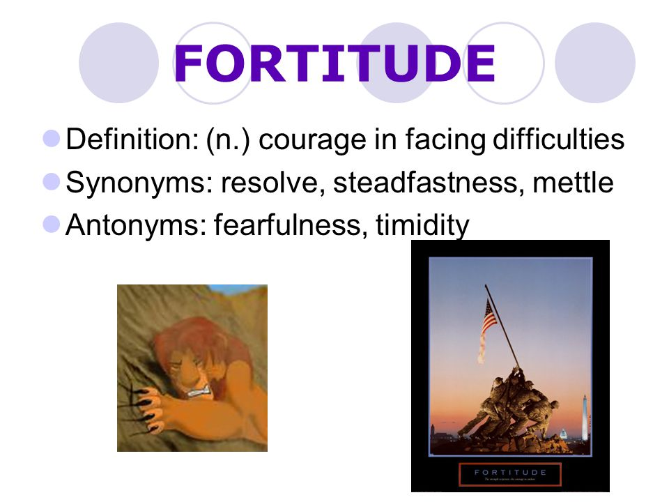 FORTITUDE Definition: (n.) courage in facing difficulties