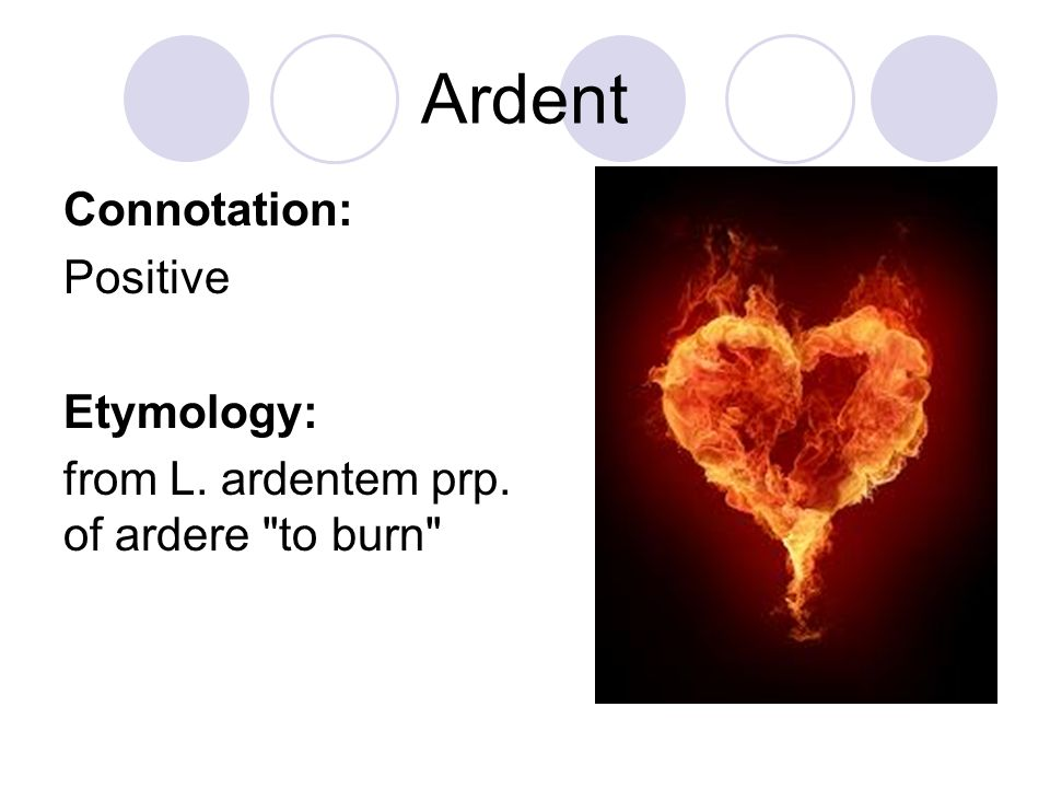 Ardent Connotation: Positive Etymology: