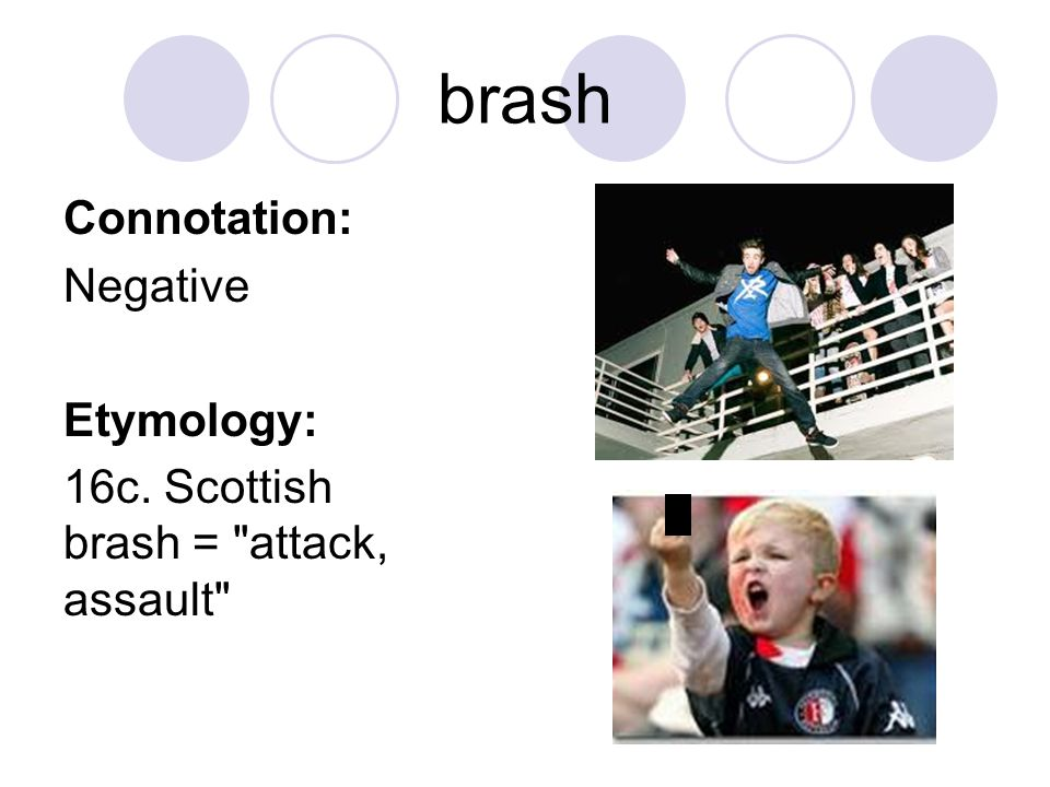 brash Connotation: Negative Etymology: