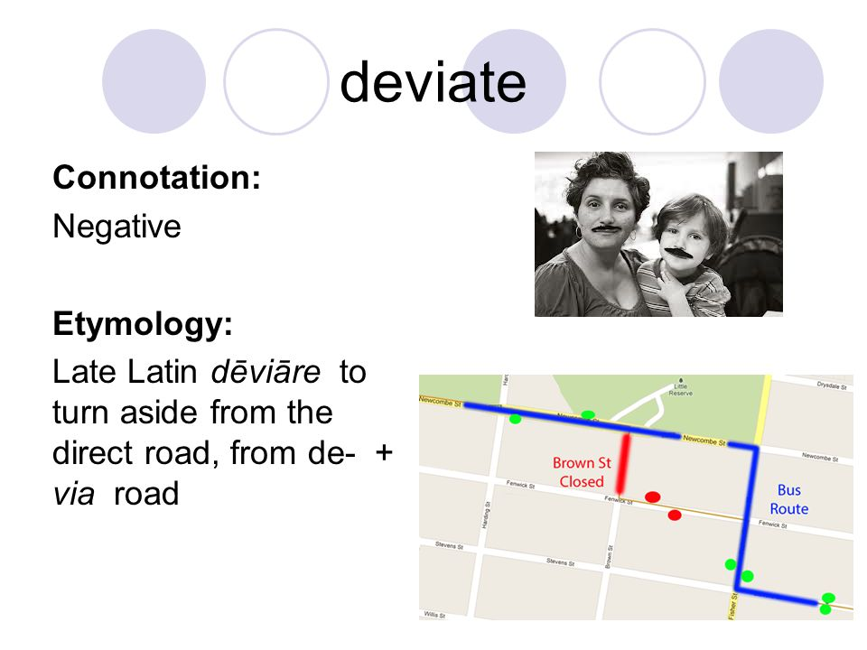 deviate Connotation: Negative Etymology: