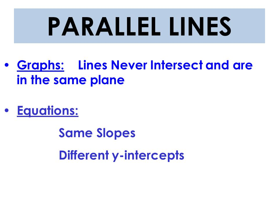 PARALLEL LINES Graphs: Lines Never Intersect and are in the same plane