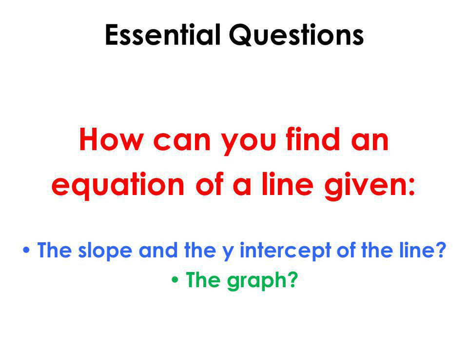 equation of a line given: The slope and the y intercept of the line