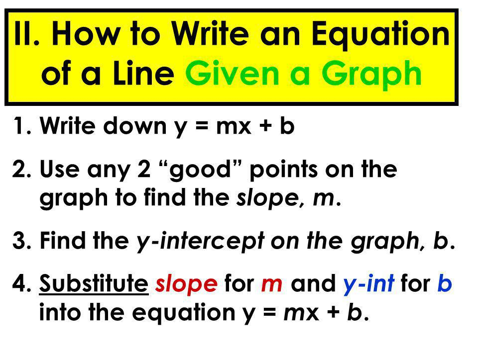 II. How to Write an Equation of a Line Given a Graph