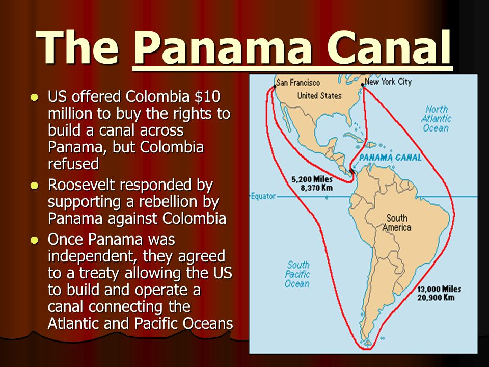 The Panama Canal US offered Colombia $10 million to buy the rights to build a canal across Panama, but Colombia refused.