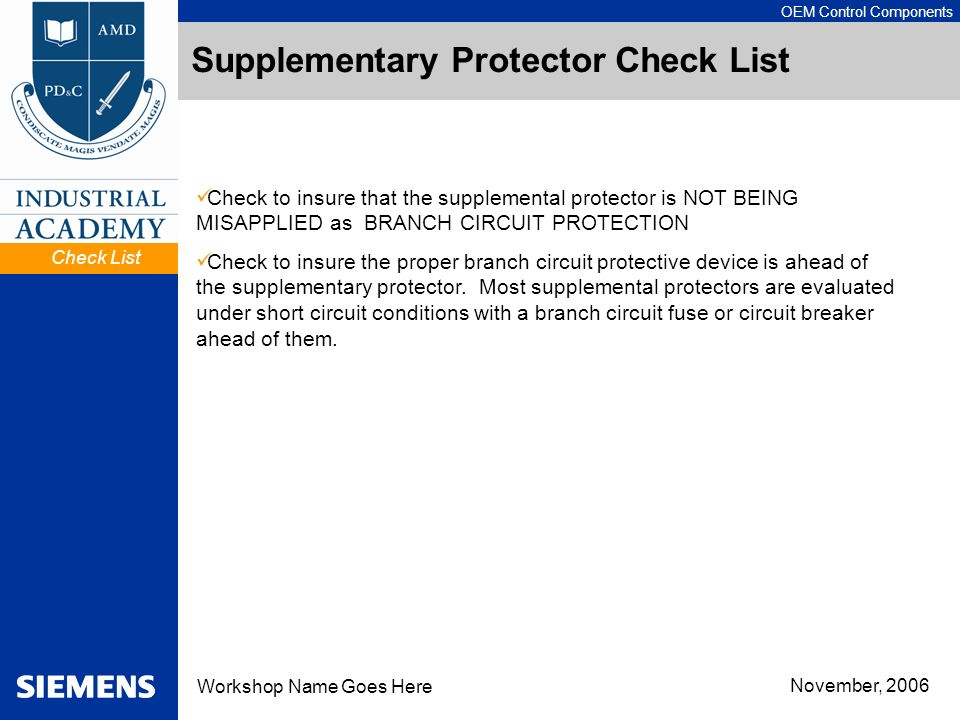 Supplementary Protector Check List