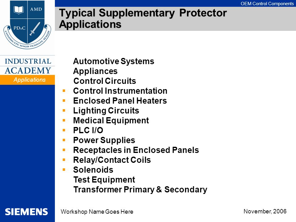 Typical Supplementary Protector Applications