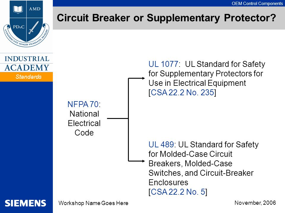 Circuit Breaker or Supplementary Protector