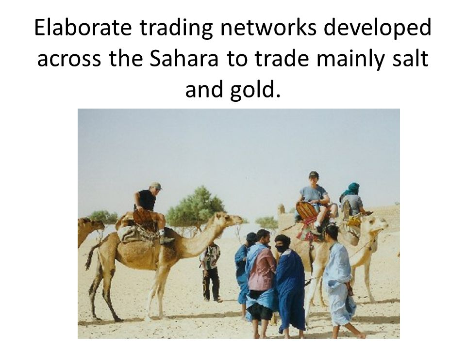 Elaborate trading networks developed across the Sahara to trade mainly salt and gold.
