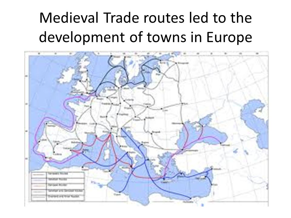 Medieval Trade routes led to the development of towns in Europe