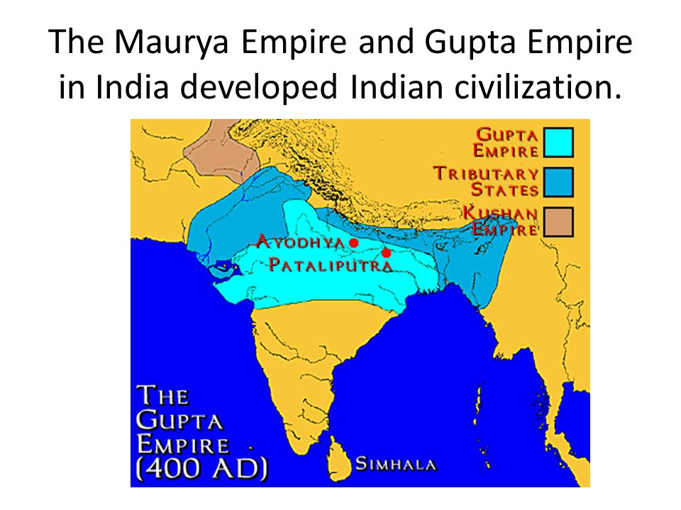 The Maurya Empire and Gupta Empire in India developed Indian civilization.