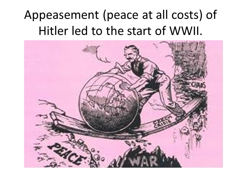 Appeasement (peace at all costs) of Hitler led to the start of WWII.