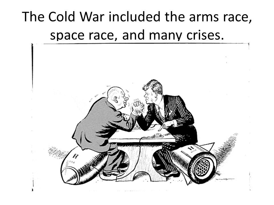 The Cold War included the arms race, space race, and many crises.