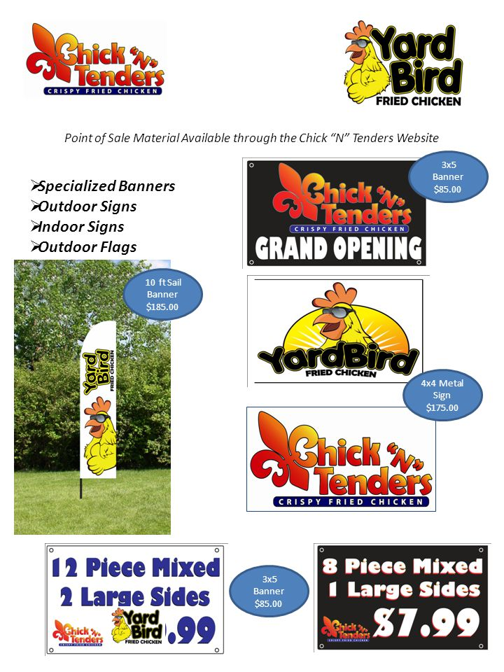 Point of Sale Material Available through the Chick N Tenders Website