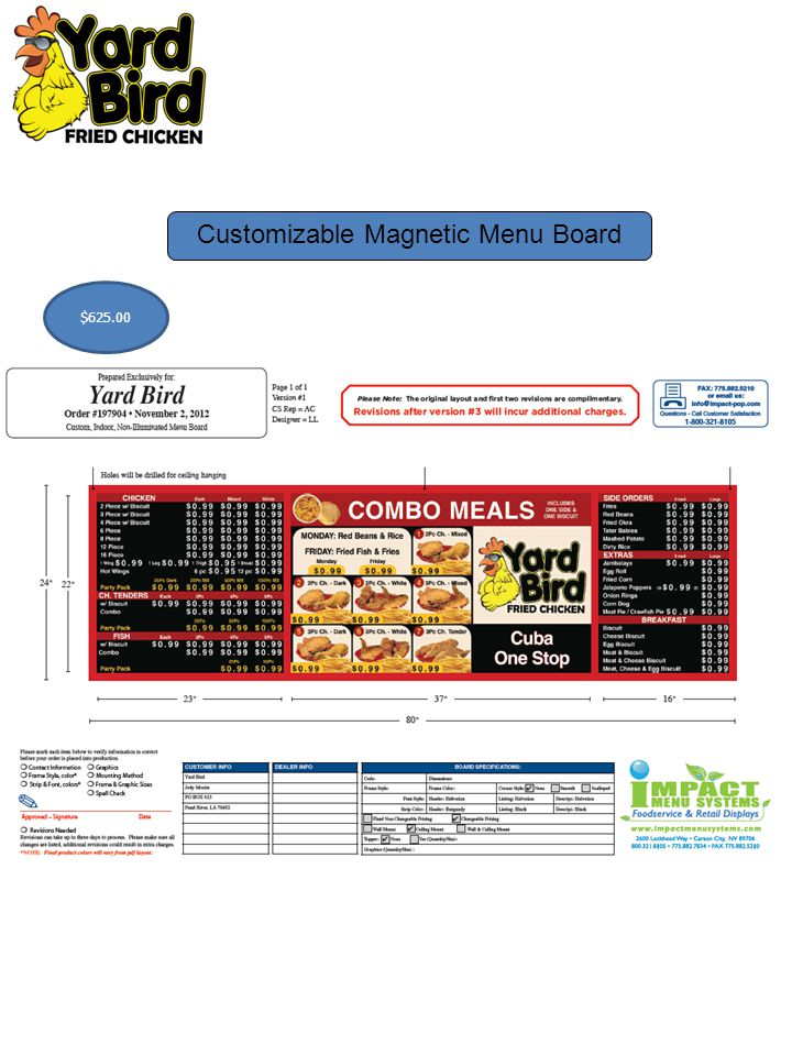 Customizable Magnetic Menu Board