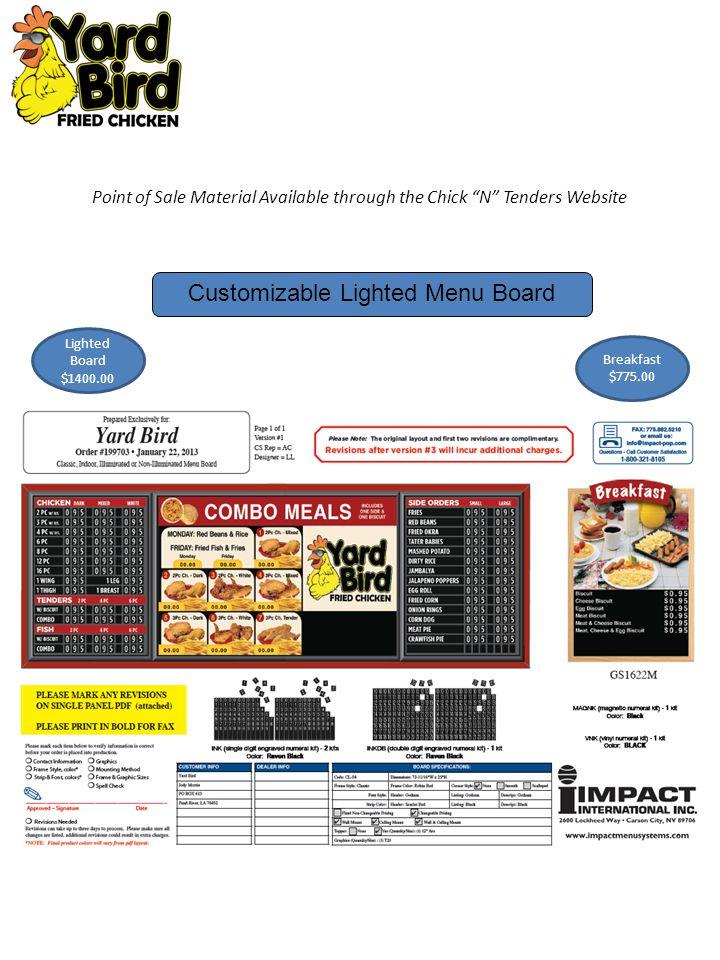 Customizable Lighted Menu Board