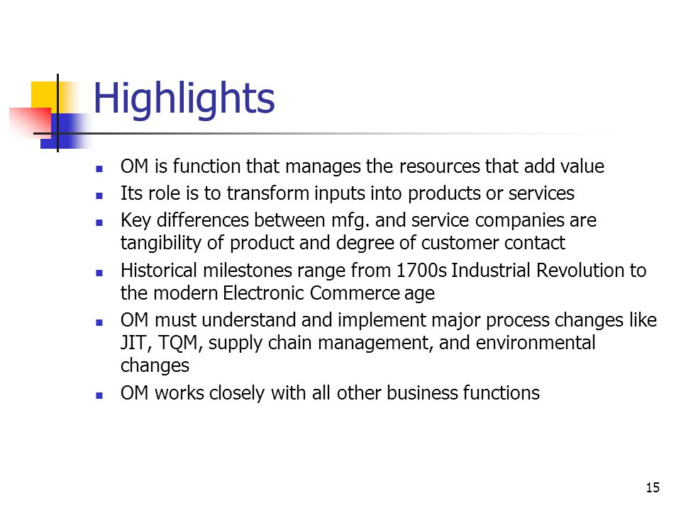 Highlights OM is function that manages the resources that add value