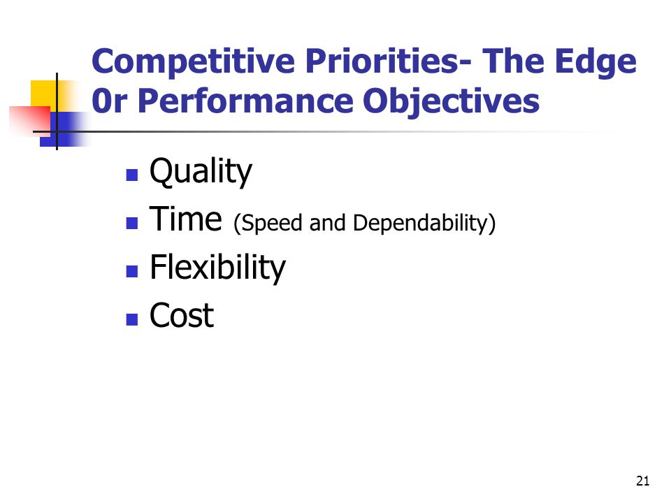 Competitive Priorities- The Edge 0r Performance Objectives