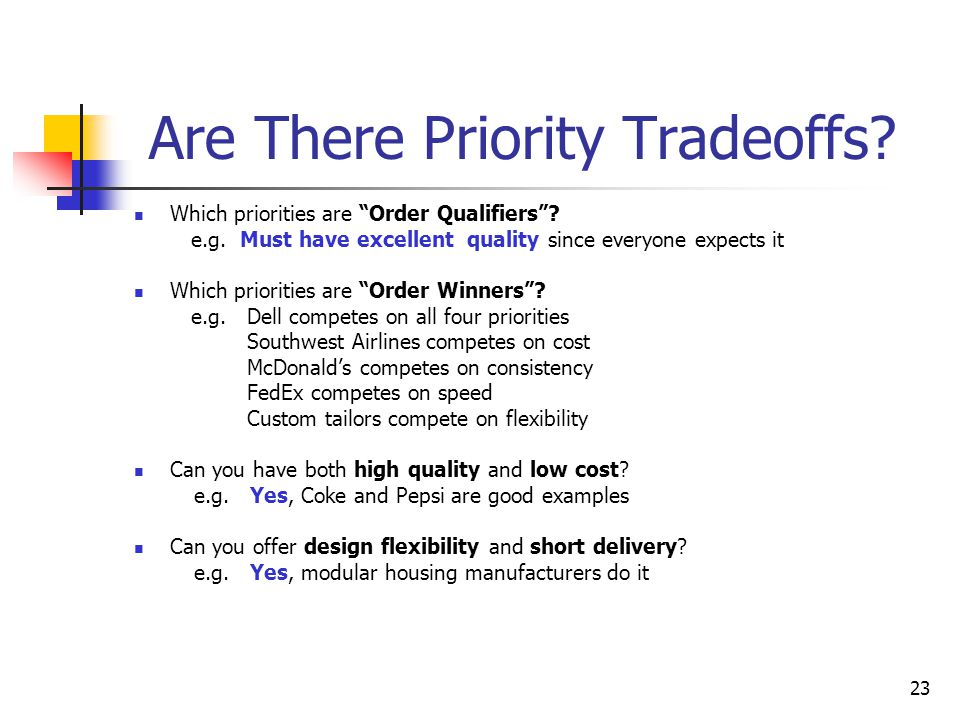 Are There Priority Tradeoffs