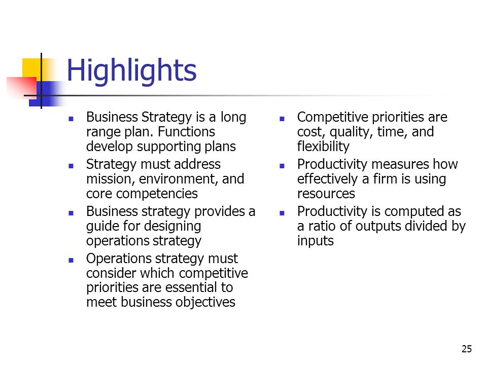 Highlights Business Strategy is a long range plan. Functions develop supporting plans.