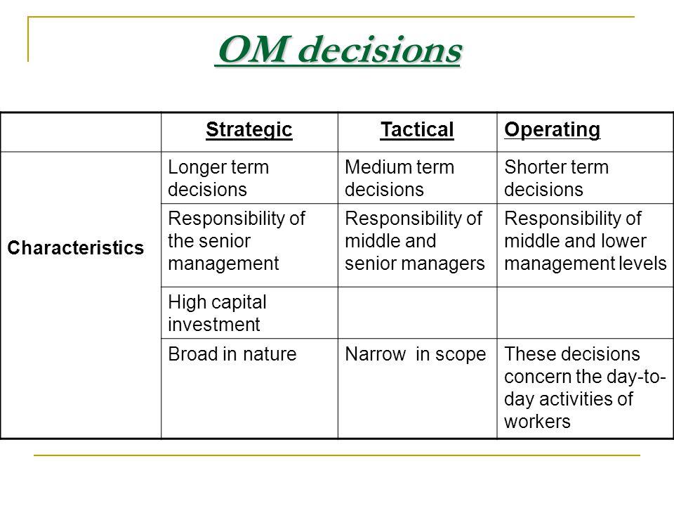 OM decisions Strategic Tactical Operating Characteristics