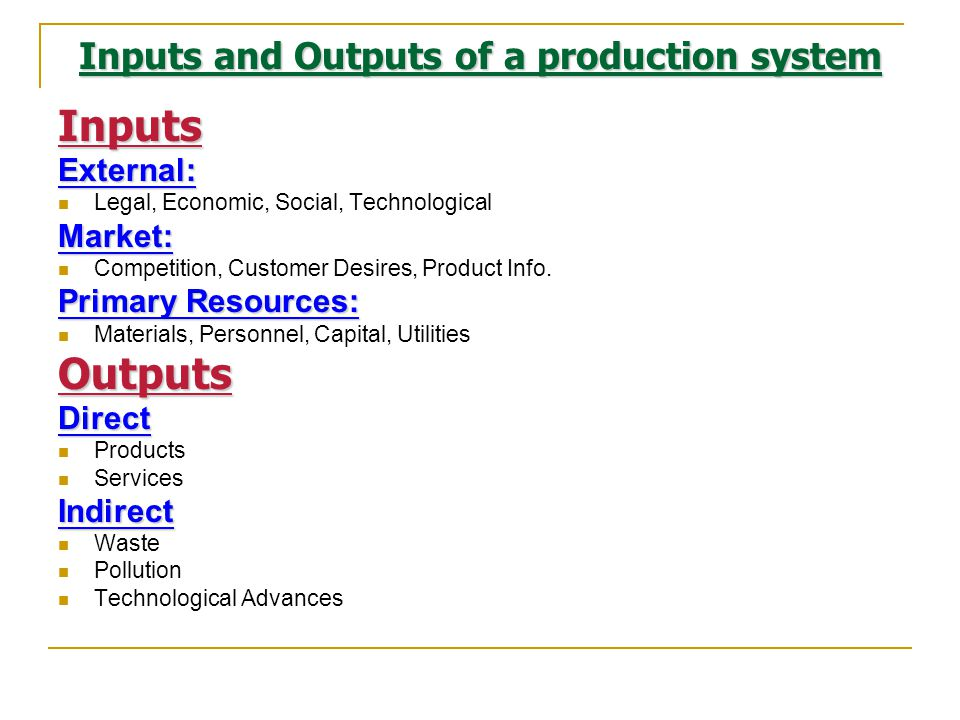 Inputs and Outputs of a production system