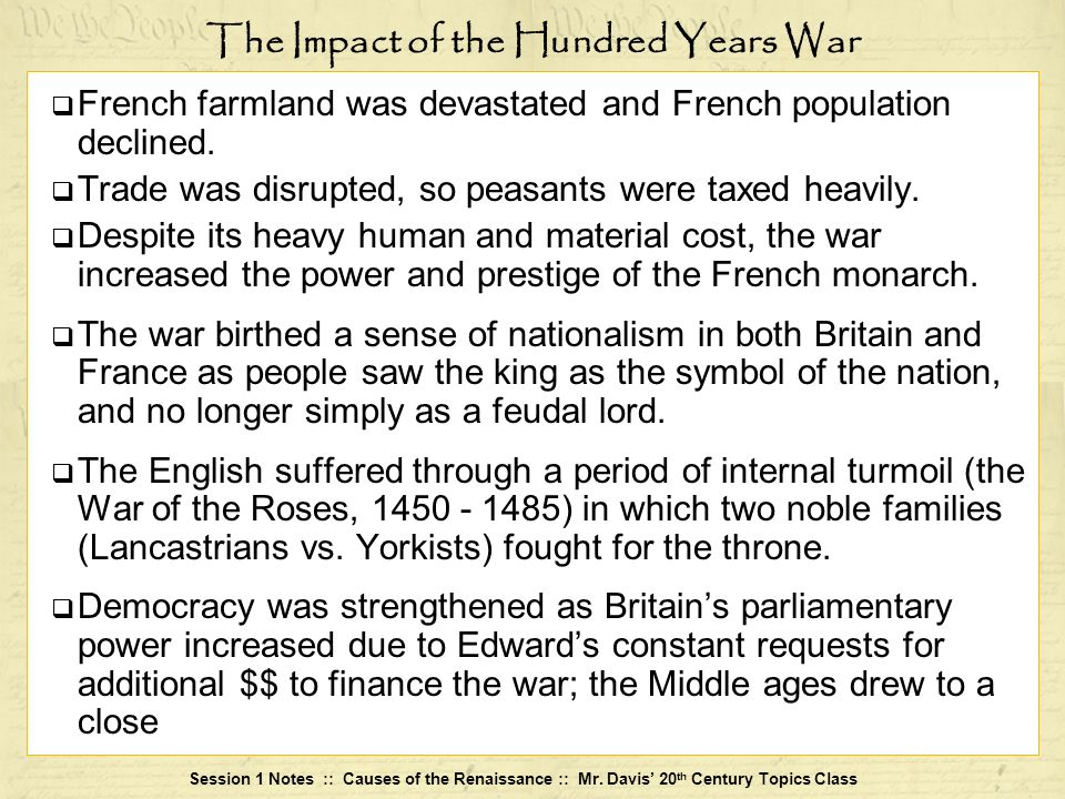 The Impact of the Hundred Years War