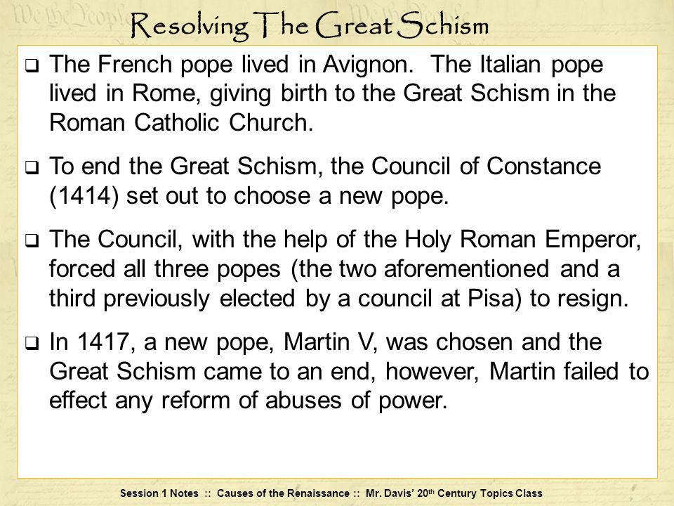 Resolving The Great Schism