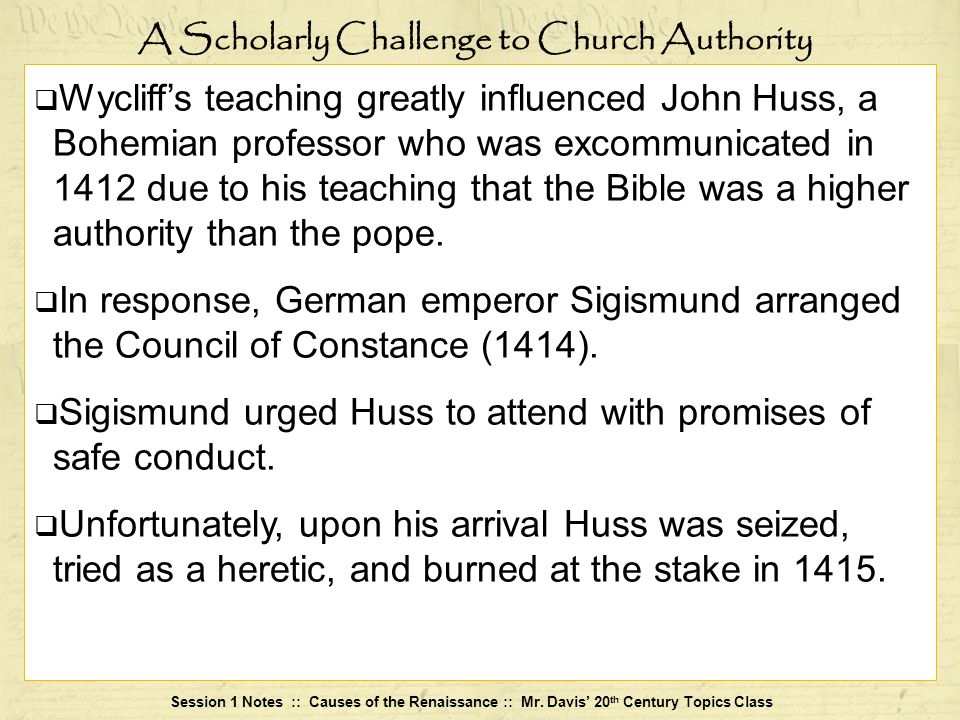 A Scholarly Challenge to Church Authority