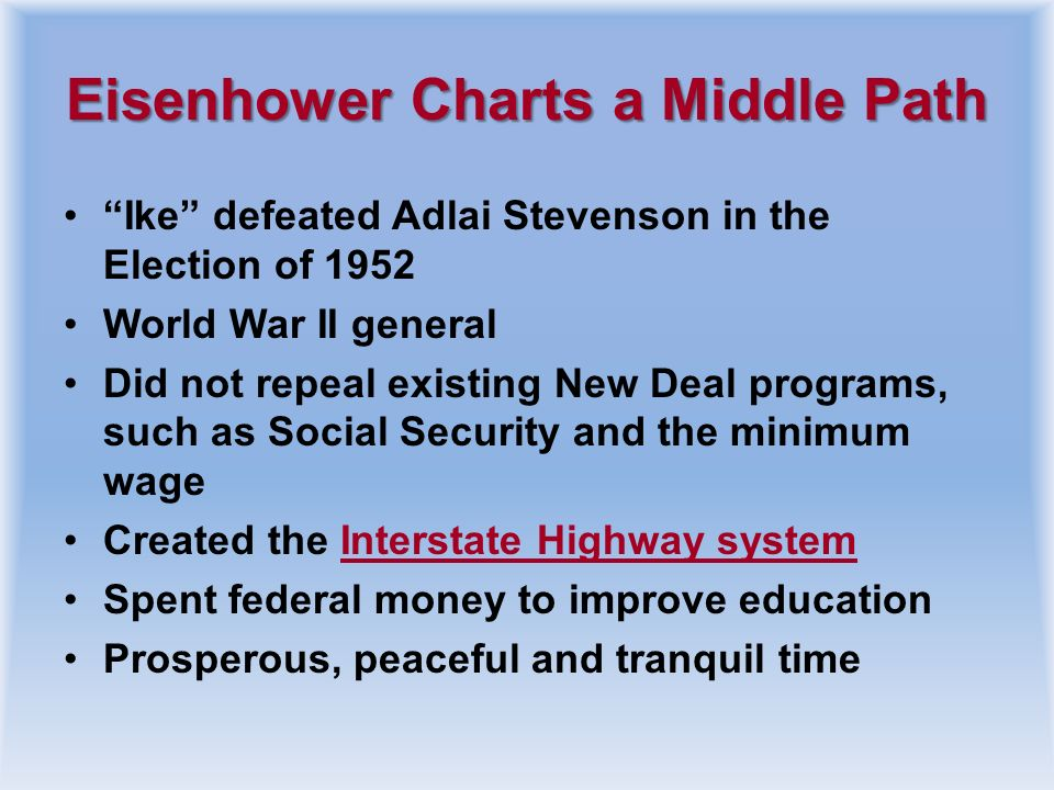 Eisenhower Charts a Middle Path
