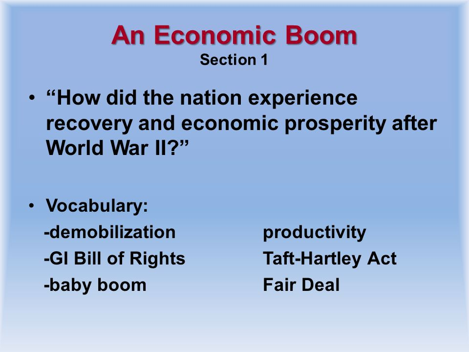 An Economic Boom Section 1