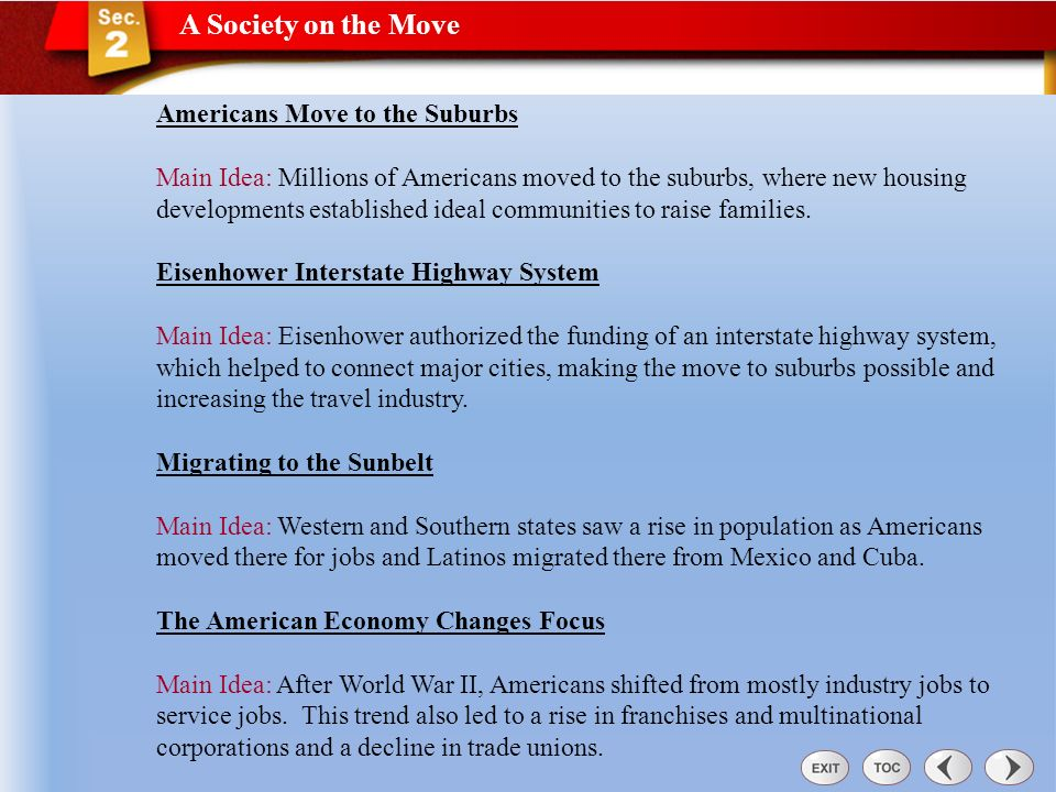 A Society on the Move Americans Move to the Suburbs