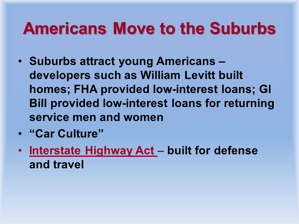 Americans Move to the Suburbs