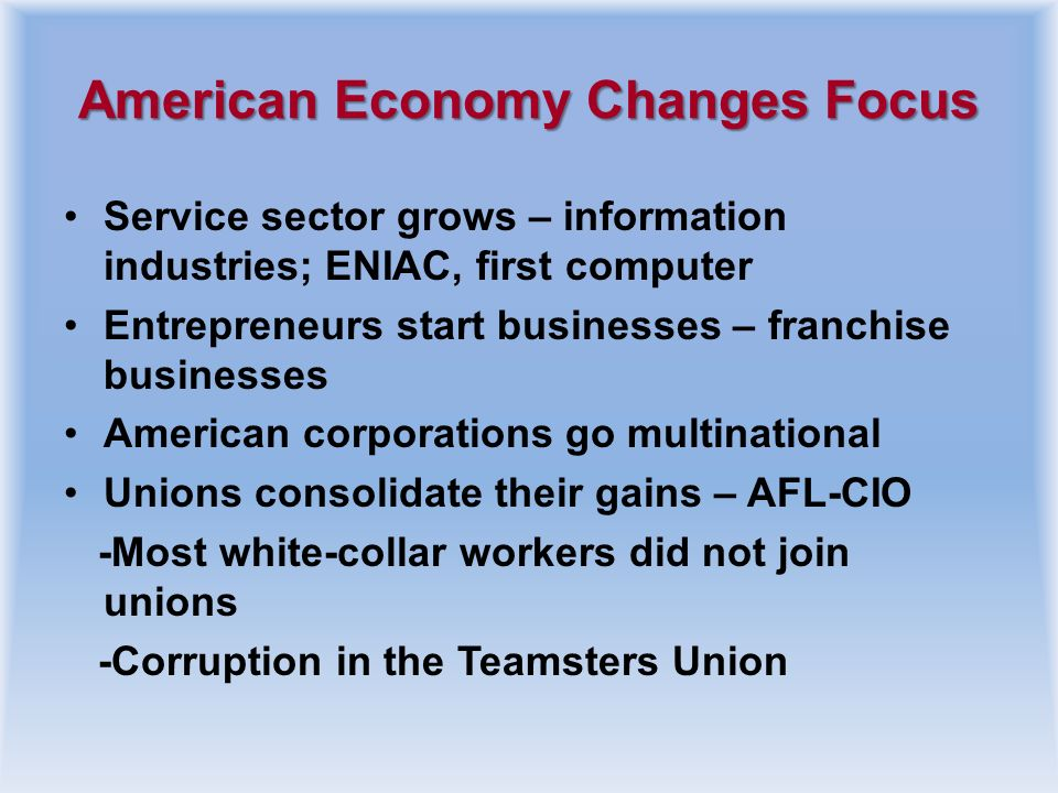 American Economy Changes Focus