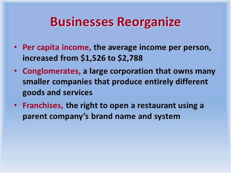 Businesses Reorganize