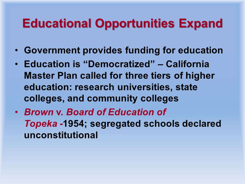 Educational Opportunities Expand