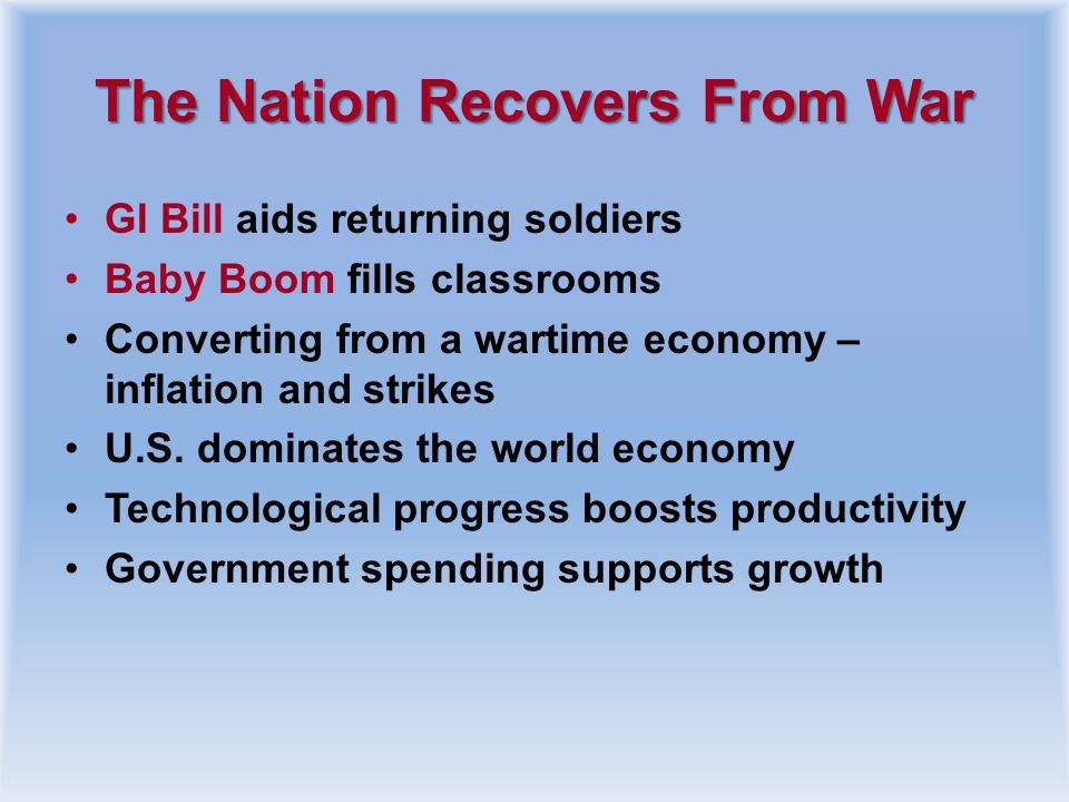 The Nation Recovers From War
