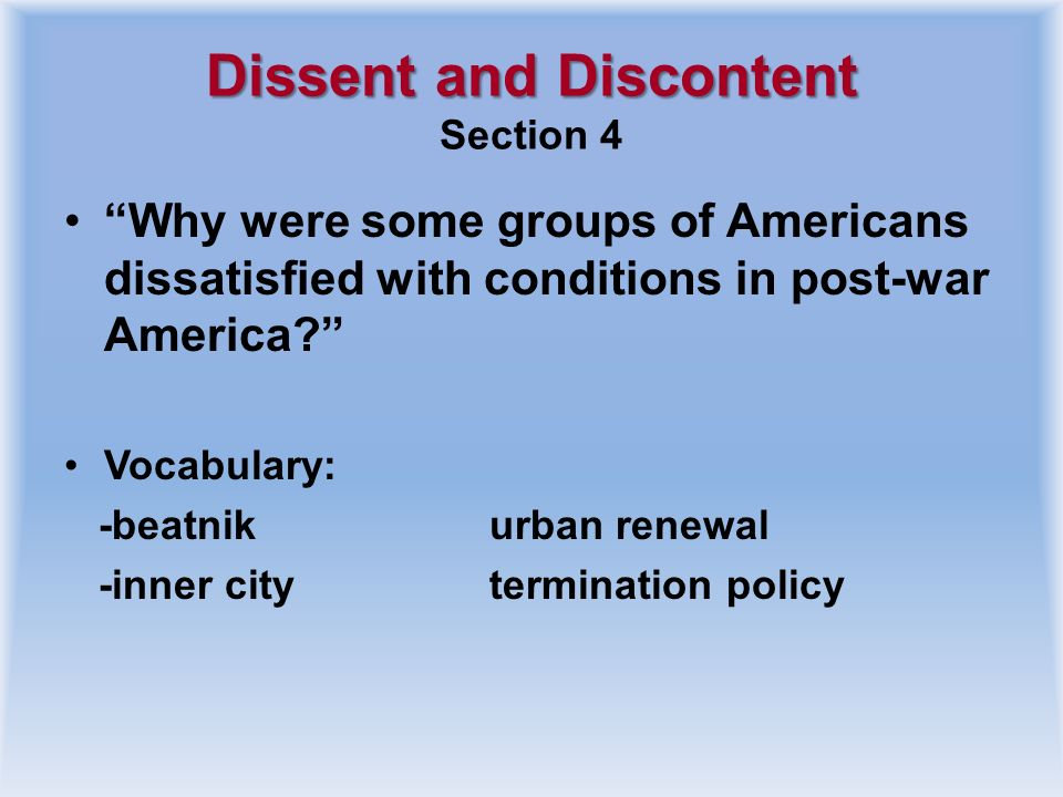 Dissent and Discontent Section 4