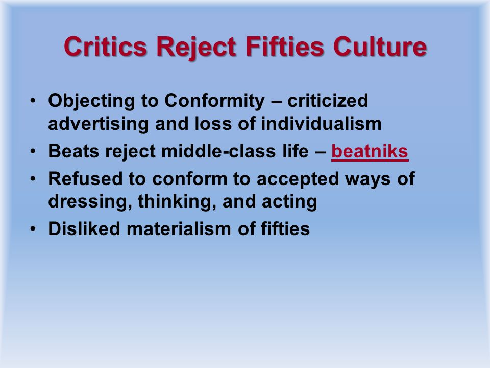 Critics Reject Fifties Culture