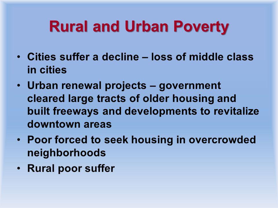 Rural and Urban Poverty