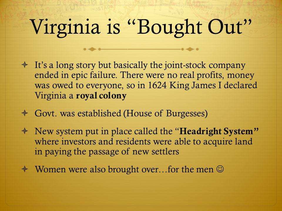 Virginia is Bought Out