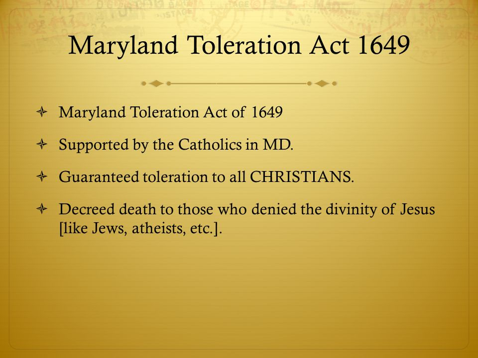 Maryland Toleration Act 1649