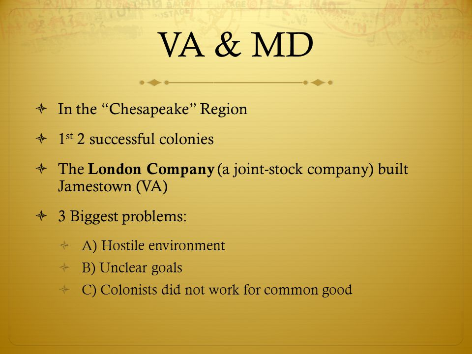 VA & MD In the Chesapeake Region 1st 2 successful colonies