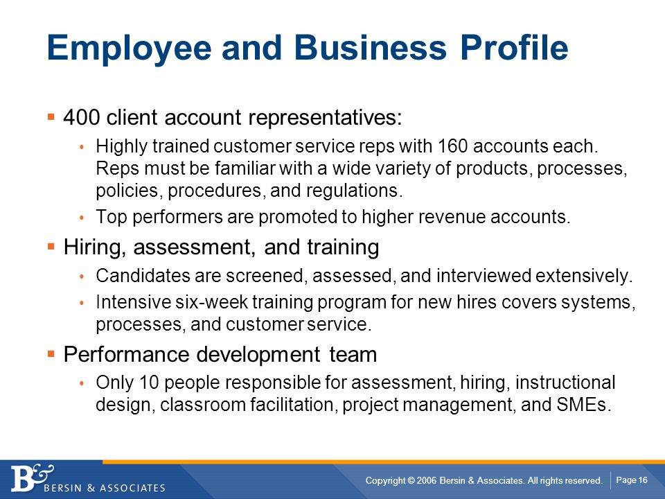 Employee and Business Profile