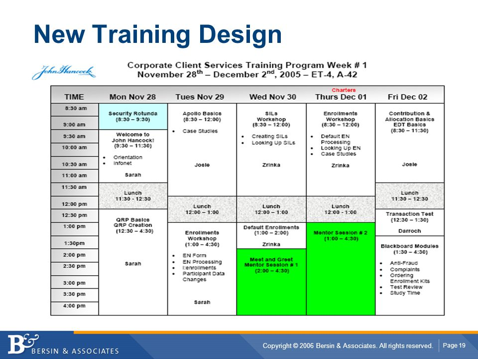 New Training Design