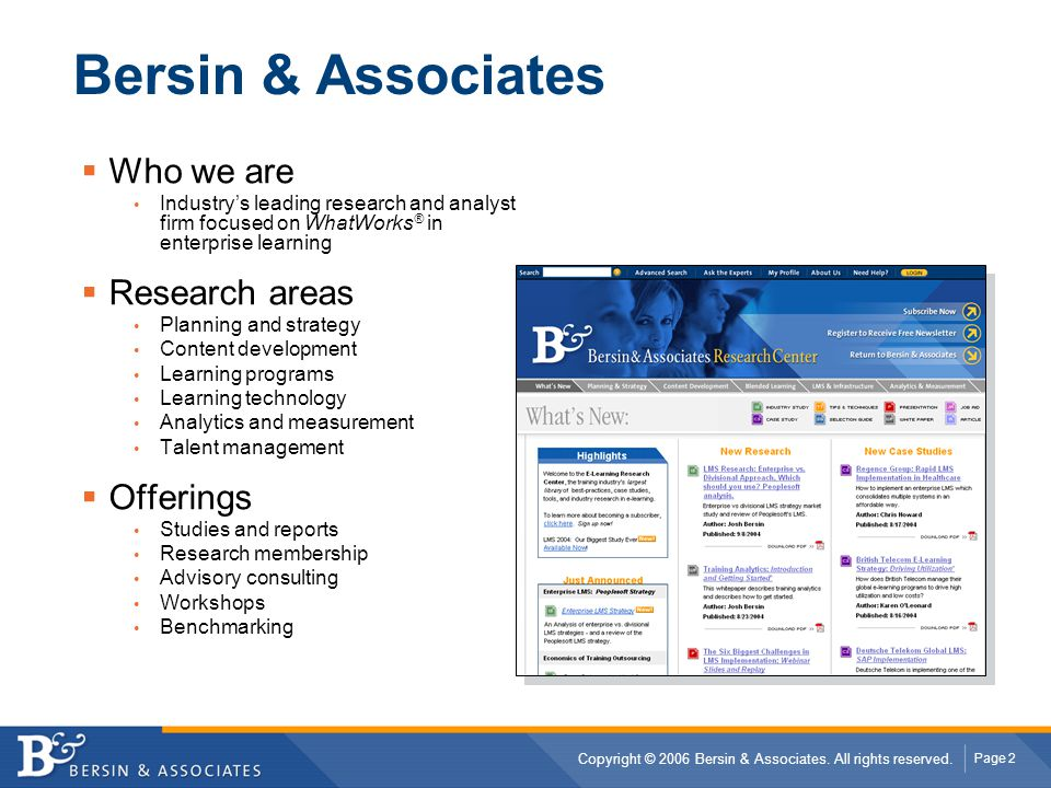 Bersin & Associates Who we are Research areas Offerings