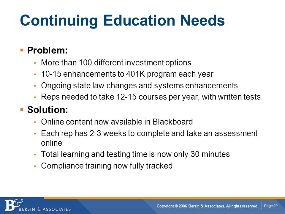 Continuing Education Needs
