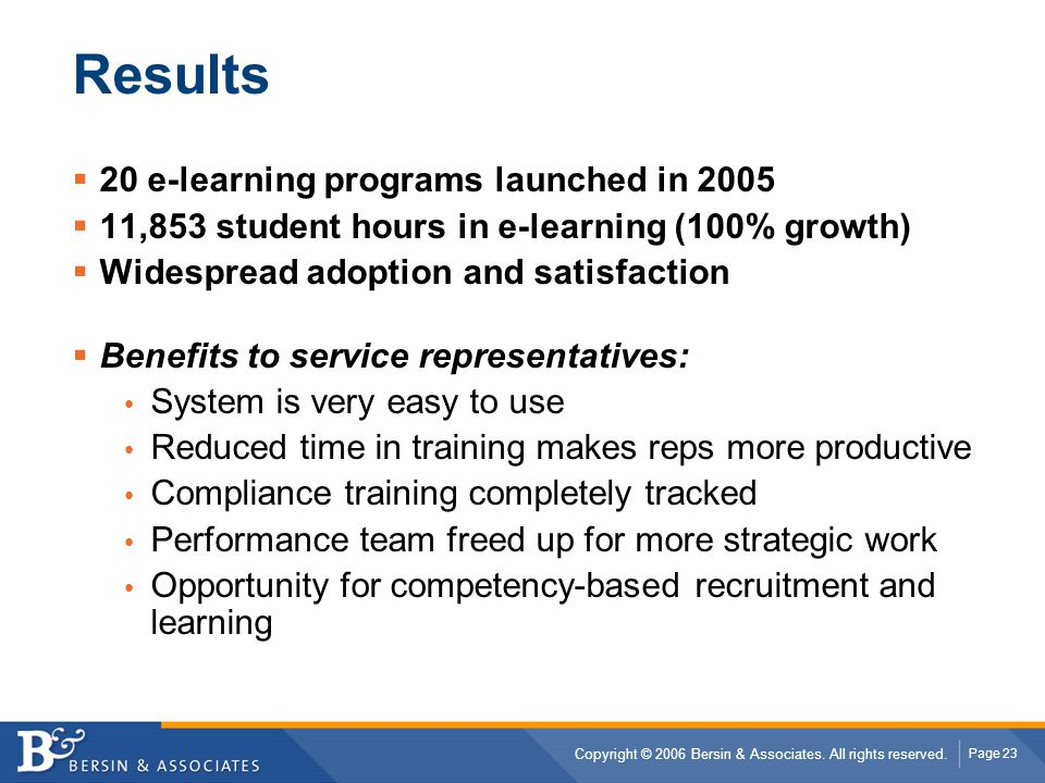 Results 20 e-learning programs launched in 2005