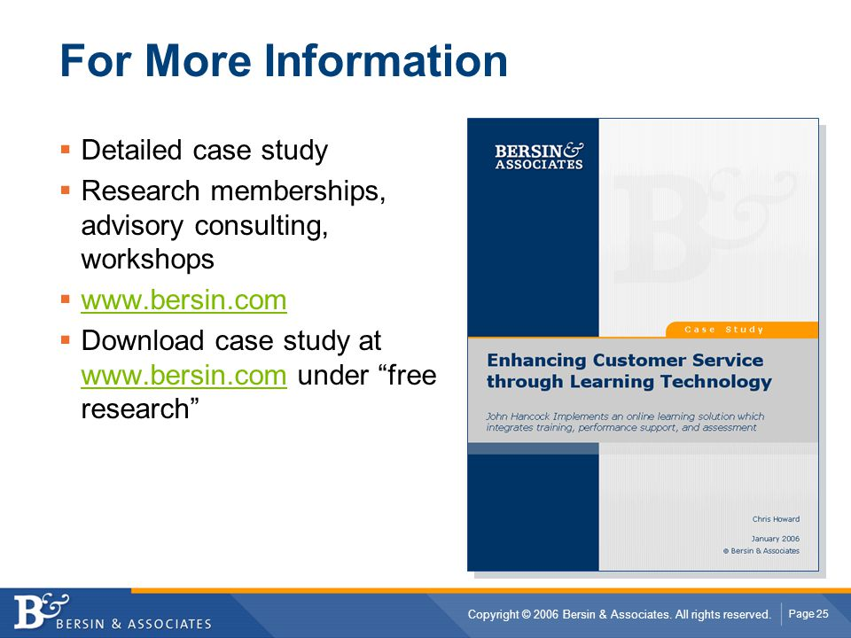 For More Information Detailed case study